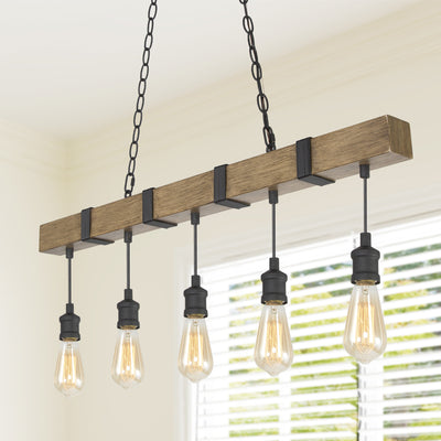 Farmhouse wide linear chandelier