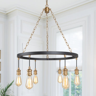 LNC Home- Modern Style Golden Wheel Chandelier- 6 lights