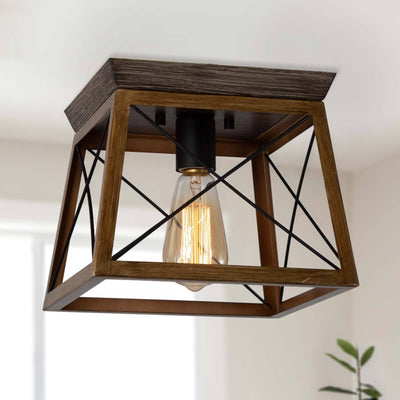 LNC Home-Wooden Cage Flush Mount- Modern Farmhouse
