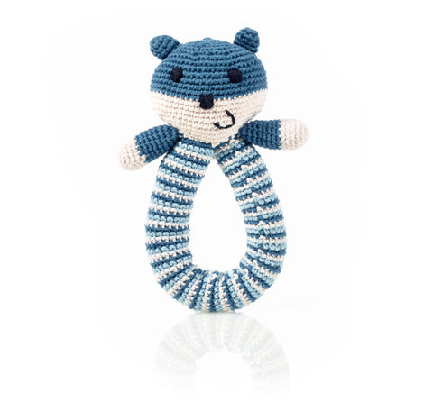 Blue Organic Bear Ring Rattle Baby Toy