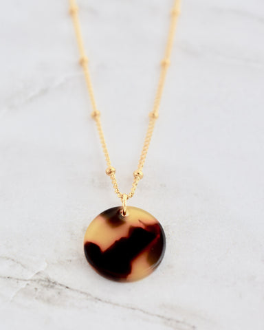 Marley Necklace -- Brown Lucite