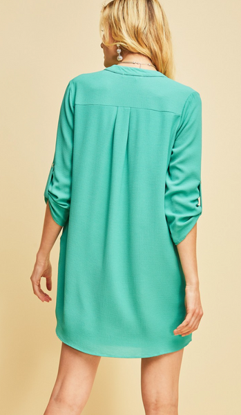 Durham Quarter Sleeve Dress -- Jade