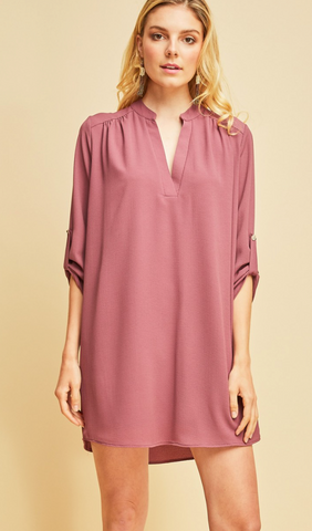 Durham Quarter Sleeve Dress -- Mauve