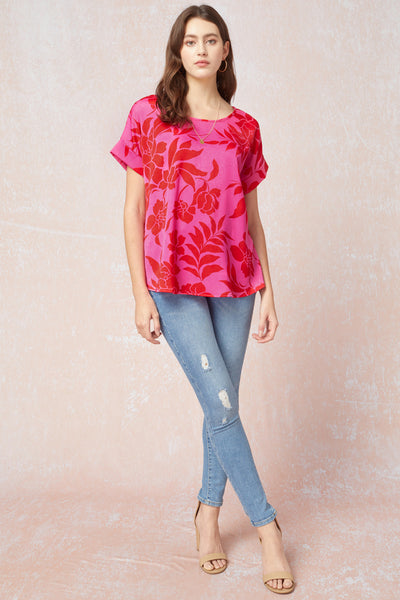 Sonja Top Plus -- Pink/Red