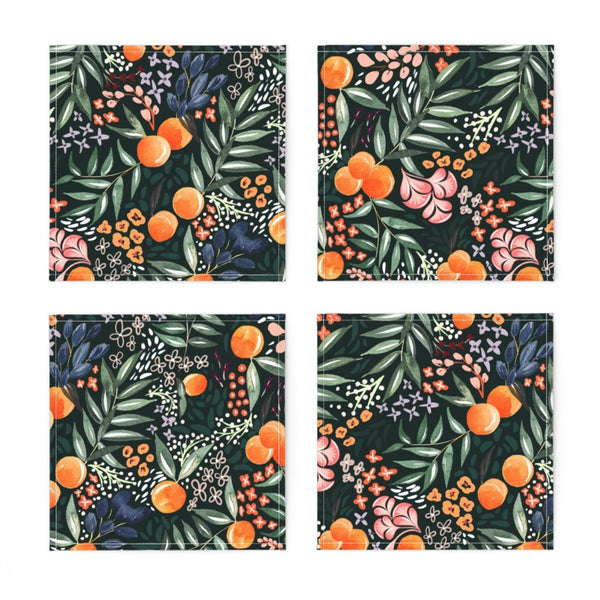 COCKTAIL NAPKINS NAVY FRUIT -- Spoonflower x The Flourish Market Limited Edition Home Collection