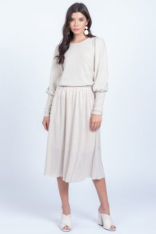 Alice Pleated Skirt -- Ivory & Silver