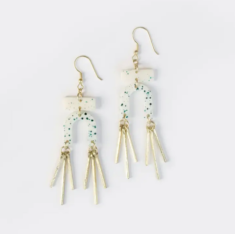 Seurat Speckle Earrings -- Blue