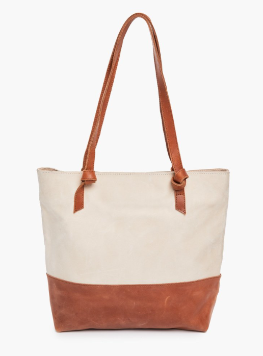 Rachel Zip Tote -- bone/whiskey