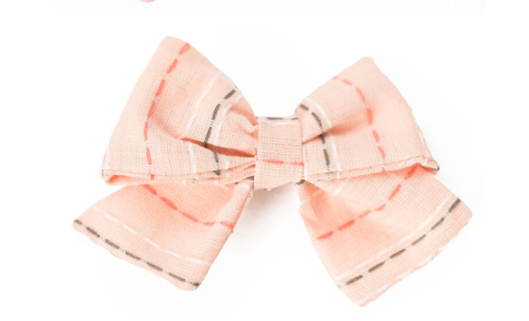 Clip Bow -- Spring Coral Striped