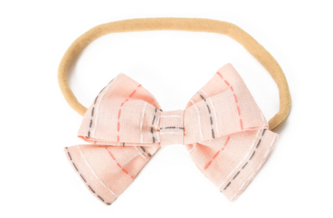Headband Bow -- Spring Coral Stripe