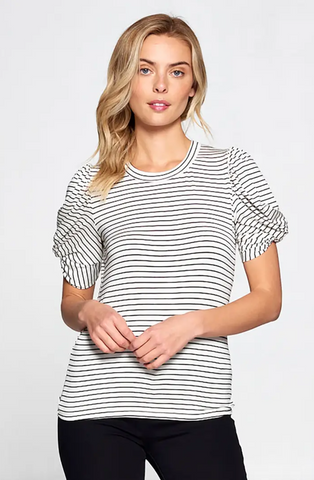 Avonlea Top -- Black/White Stripe