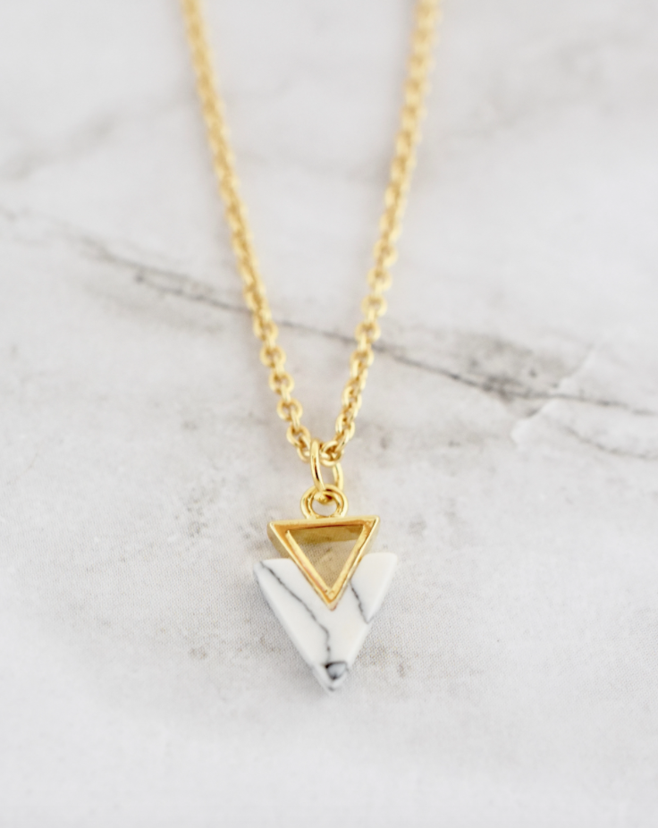Marley Necklace -- White Triangle