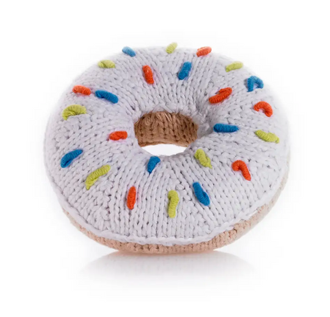 White Donut Rattle Baby Toy