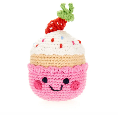 Friendly Cupcake with Strawberry Rattle Baby Toy