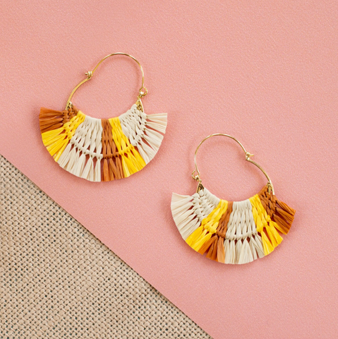 Caramel Hoop Earrings -- Yellow