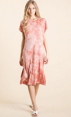 Tidal Waves Dress -- Paprika