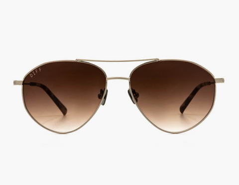 Diff Scout Sunglasses -- Brush Silver with Mocha Tortoise Tips + Brown Gradient Lens