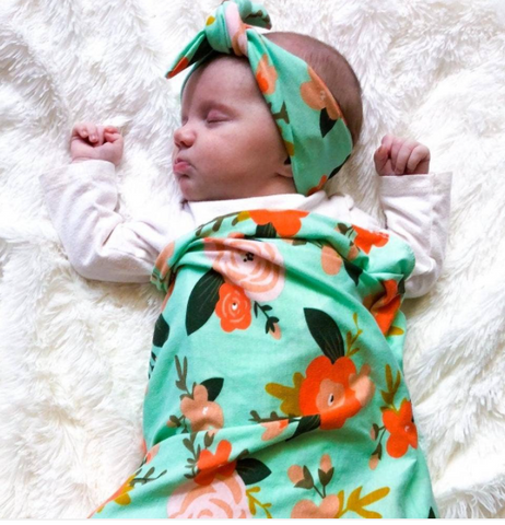 Baby Swaddle/Headband--Mint Floral