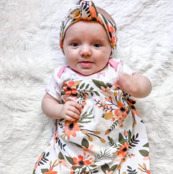 Baby Swaddle/Headband--Vintage Floral