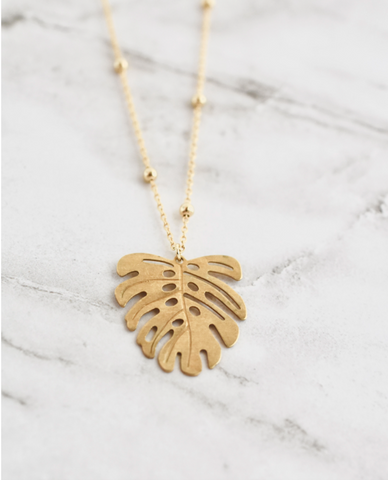 Delilah Necklace -- Palm Leaf