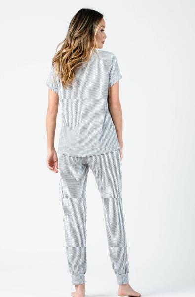 Lounge Jogger--White/Black Stripe