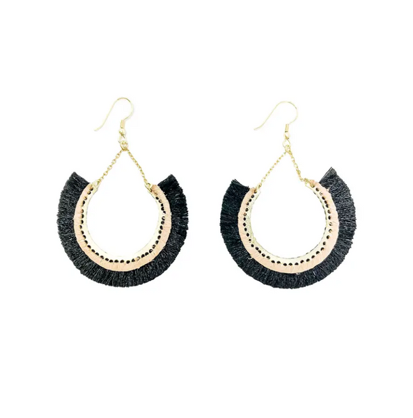 Contoured Fringe Earrings -- Black