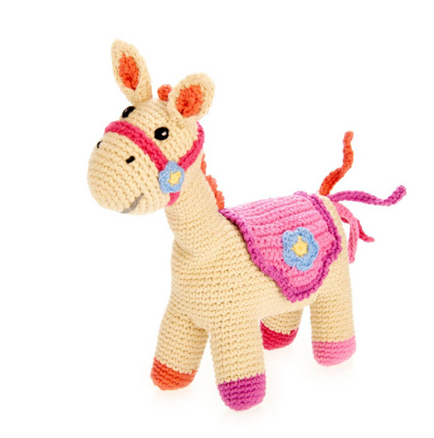 Pink Horse Rattle Baby Toy