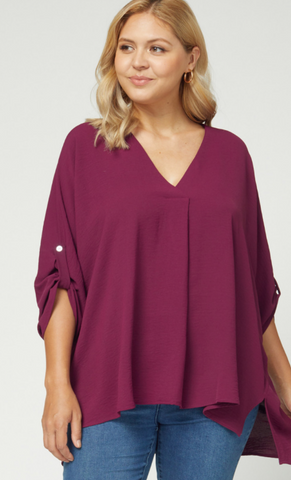 Deborah Top -- Burgundy (Plus)