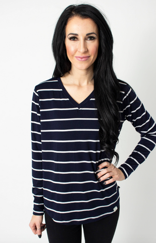 Regal Stripe Long Sleeve V Neck