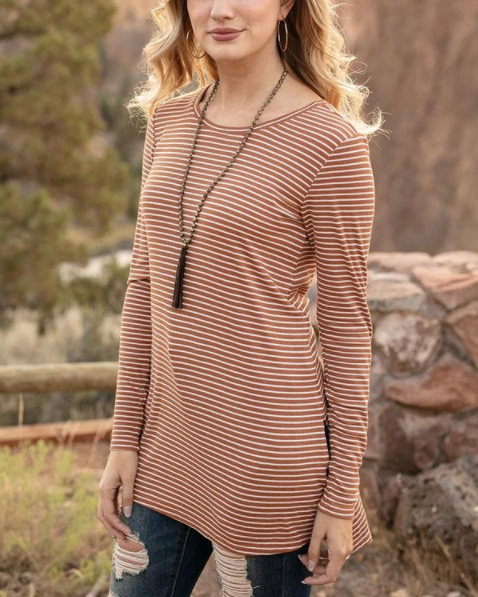 Long Sleeve Tunic Tee -- Whiskey Stripe