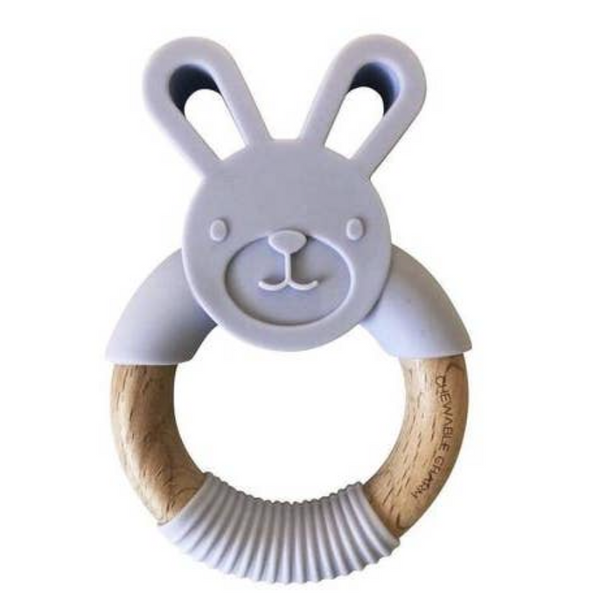 Bunny Silicone + Wood Teether -- Lavender