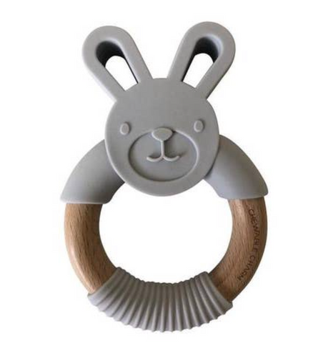 Bunny Silicone + Wood Teether -- Light Grey