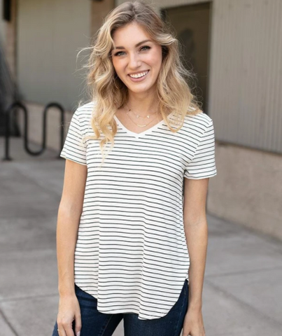 Perfect V-Neck Tee -- Ivory/Black Mini Striped