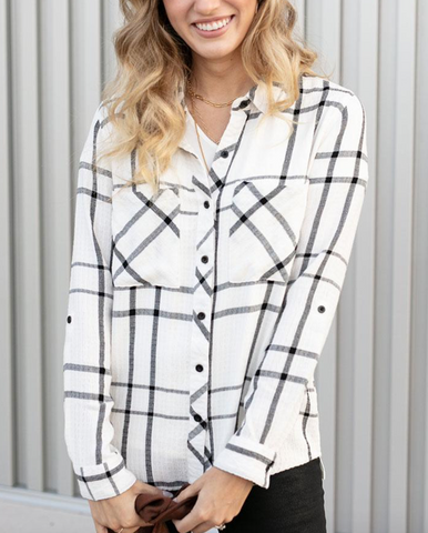 Favorite Button Up Plaid -- White/Black
