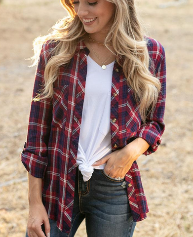 Favorite Button Up Plaid -- Wine/Navy