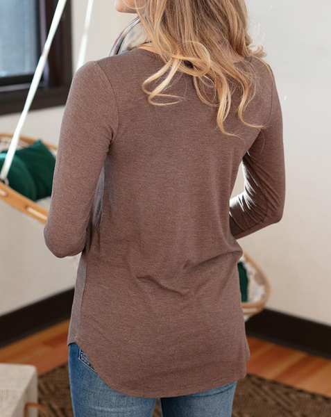 Long Sleeve Perfect Pocket Tee -- Heathered Chocolate