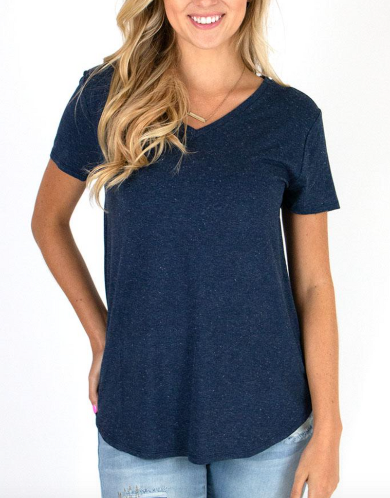 Perfect V-Neck Tee -- Heathered Navy