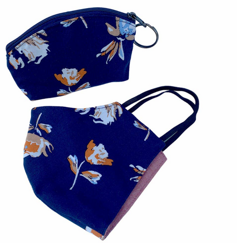 Mask & Pouch Set -- Navy Fall Floral