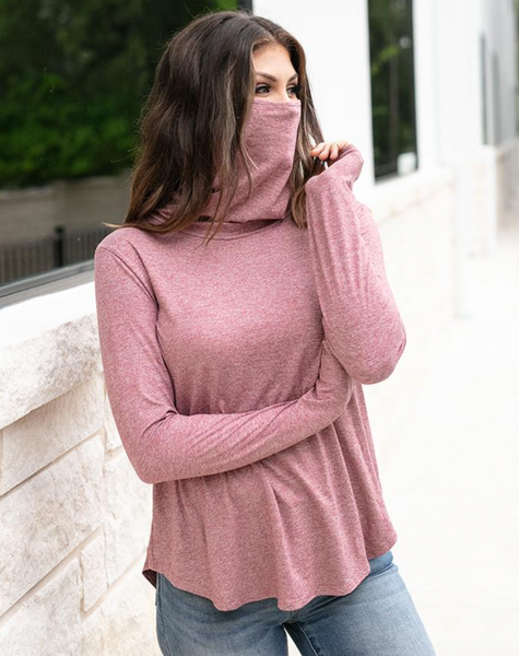 Cover Up Cowl Neck Top -- Marsala