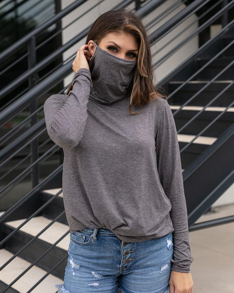 Cover Up Cowl Neck Top -- Charcoal