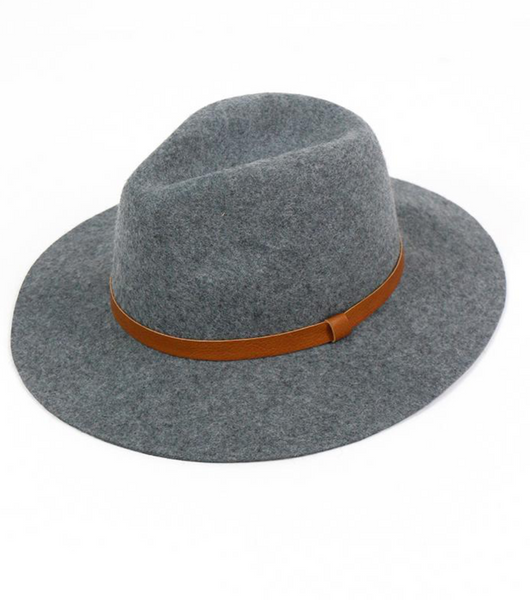 Classic Felted Wool Stiff Brim Fedora Hat -- Charcoal Grey