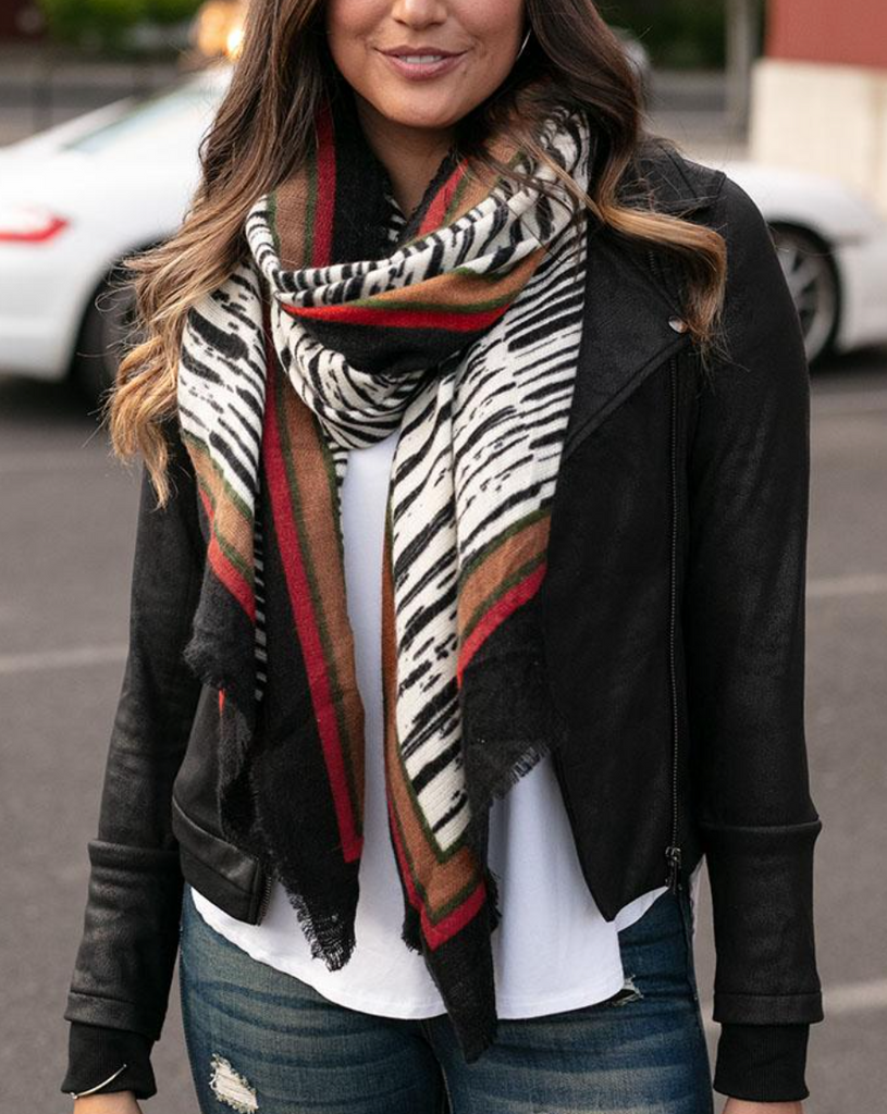 Border Print Scarf -- Abstract Zebra