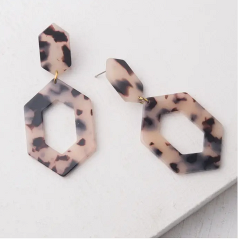 Gloria Tortoise Shell Resin Earrings