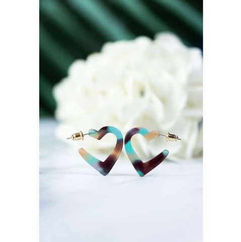 Mini Heart Hoops in Jasmine