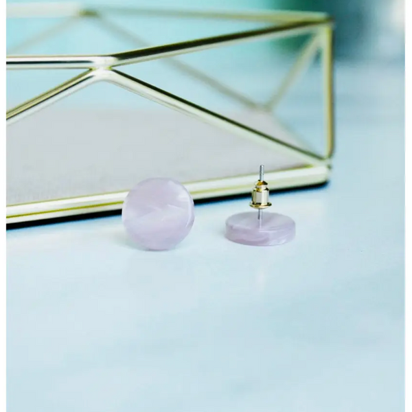 Circle Studs in Lavender
