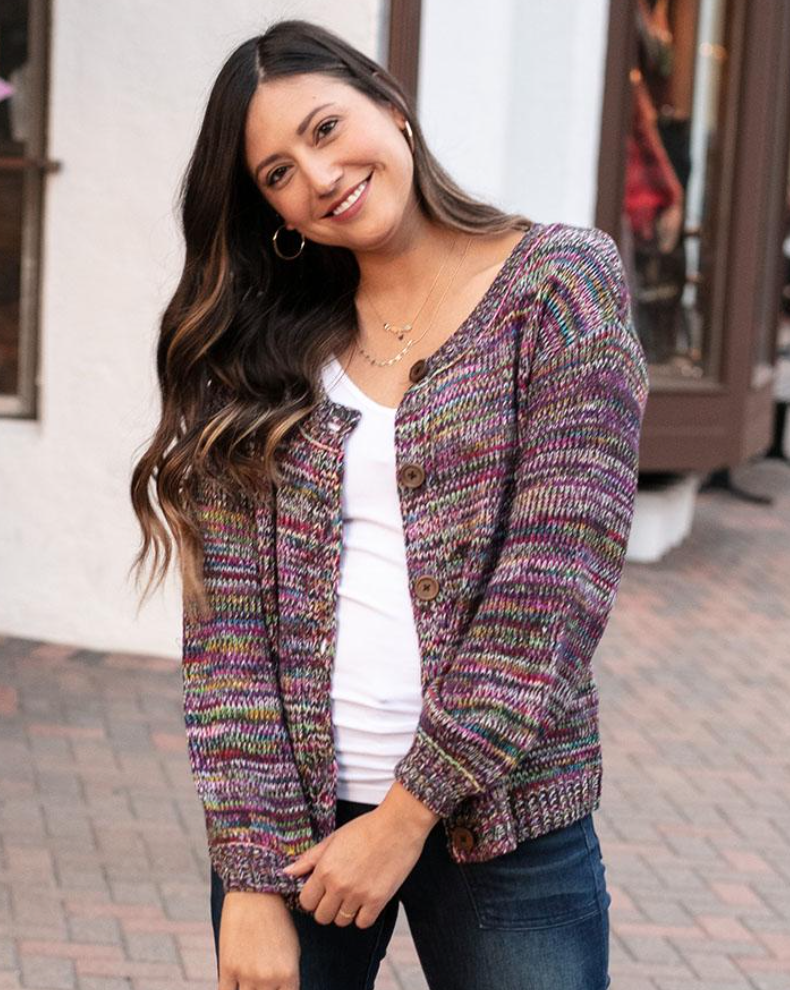 Button Up Sweater -- Multicolor