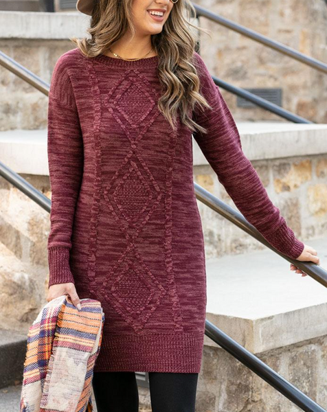 Cable Knit Sweater Dress -- Wine