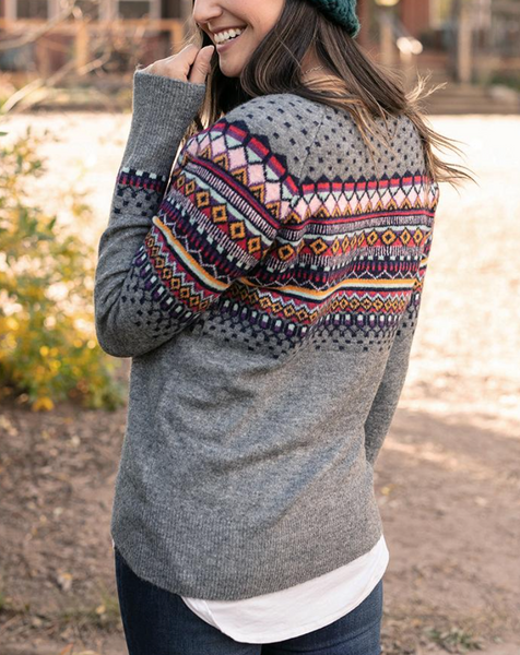 Intarsia Sweater -- Heathered Grey