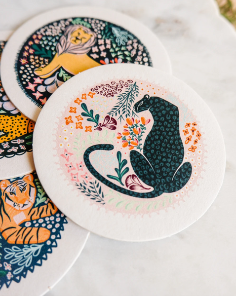 Set of Four Assorted Big Cat Coasters