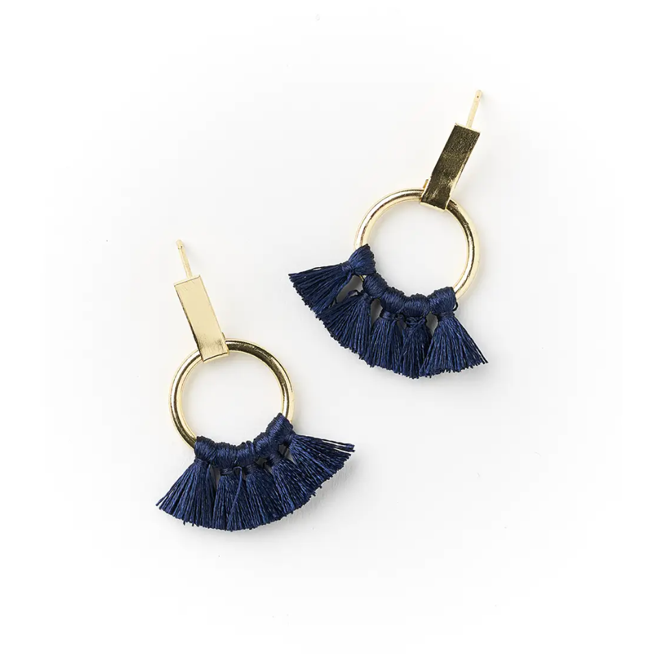 Danu Earrings -- Navy Hoop
